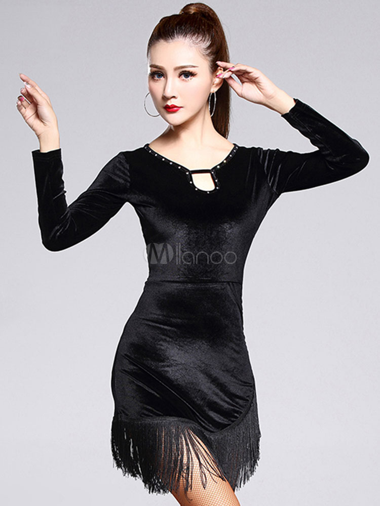 Buy Latin Dance Costume Black Velvet Long Sleeve Short Dress Latin Dancing Costume With Tassels for $41.39 in Milanoo store