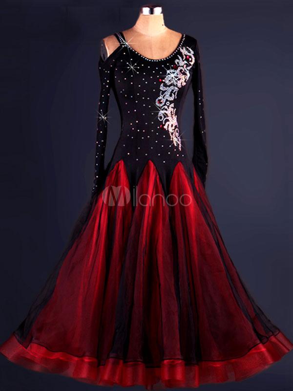 Salsa Dance Costume Organza Two Tone Beaded Long Sleeve Ballroom Dancer Costume
