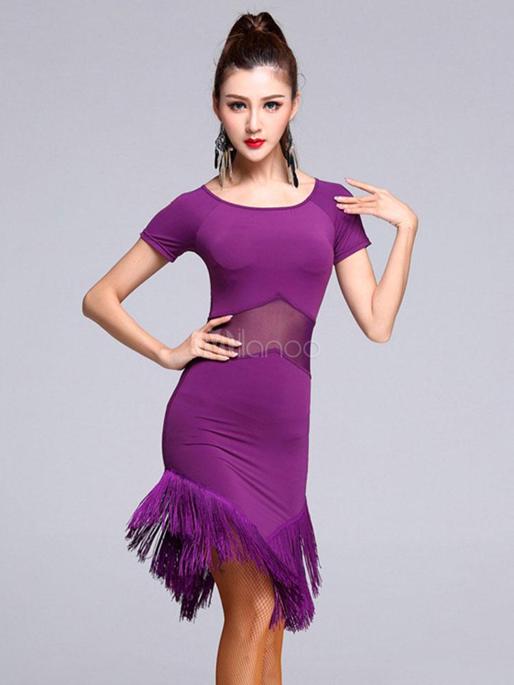Traje de baile latino de rayón fibra para baile estilo femenino de ...