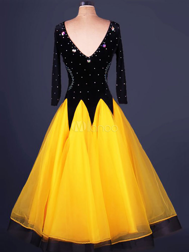 Organza robe danse de salon ronde cou manches courtes for Dans de salon