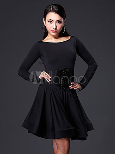 Buy Latin Dance Dress Women's Black Long Sleeve Flared Dance Costume With Knee High Socks  (Belt Excluded) for $42.31 in Milanoo store