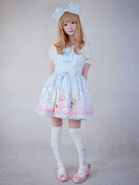 Buy Sweet Lolita Dress Toys Paradise JSK Chiffon Lace Trim Light Blue Lolita Jumper Skirt for $118.99 in Milanoo store
