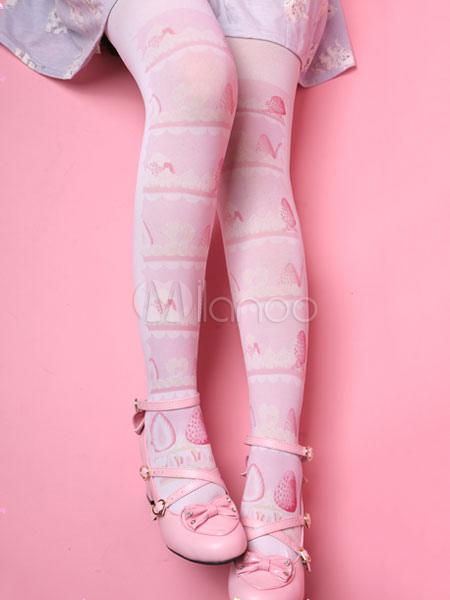 Buy Sweet Lolita Socks Strawberry Cake Print Pink Lolita Stockings for $14.71 in Milanoo store