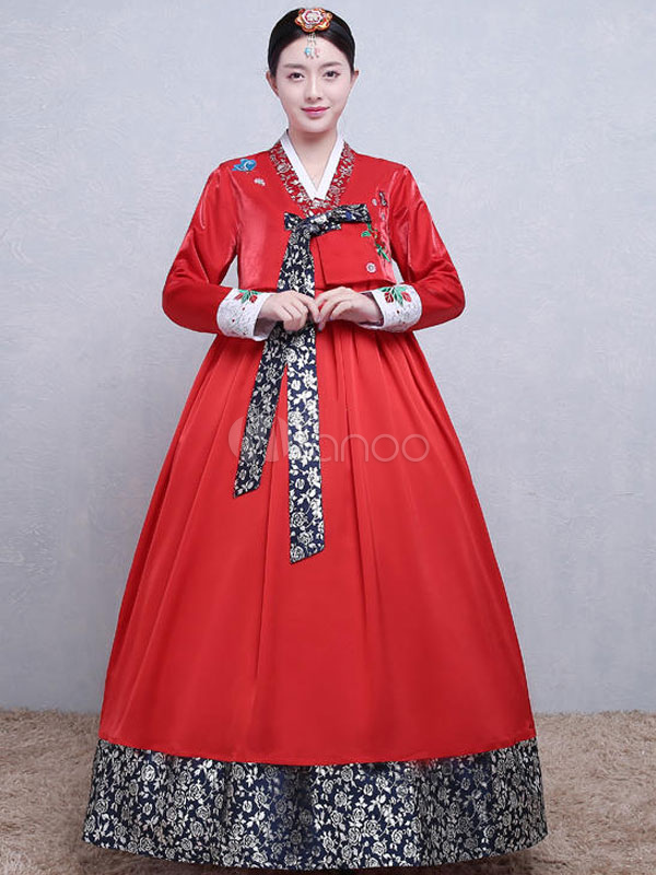 Buy Halloween Korean Costume Satin Women's Printed A Line Maxi Dress Traditional Hanbok Costume Set for $64.59 in Milanoo store