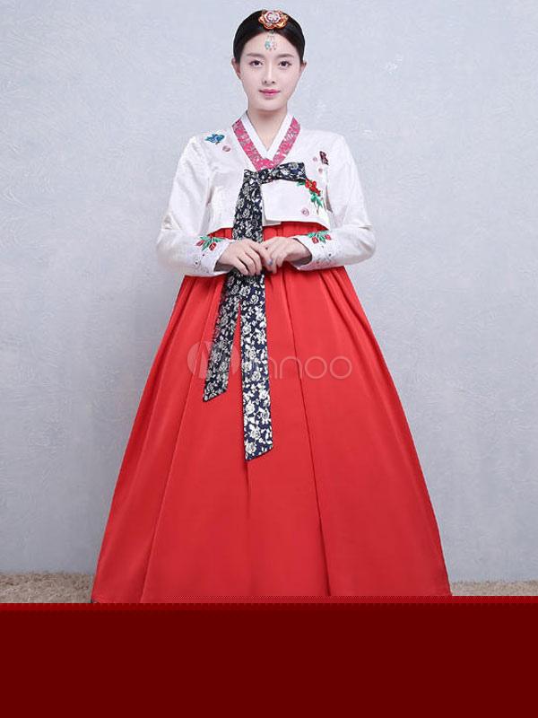 Buy Halloween Korean Costume Women's Satin Color Block Printed A Line Maxi Dress Traditional Hanbok Costume Set for $64.59 in Milanoo store