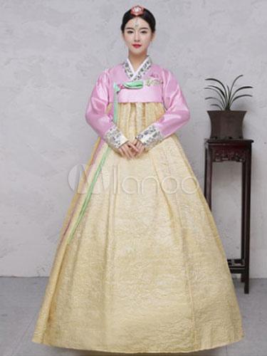 Buy Halloween Korean Costume Taffeta Bow Knot Color Block Women's Traditional A Line Maxi Dress Hanbok Costume Set for $44.99 in Milanoo store