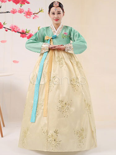 Buy Halloween Korean Costume Women's Satin Traditional Floral Printed A Line Hanbok Court Costume Set for $34.19 in Milanoo store
