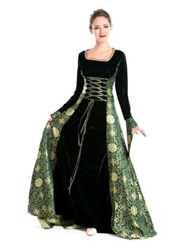 14e8d4cd0b Vestido de retro de Jacquard para adultos de renacimiento para espectáculo  de verde musgo con vestido