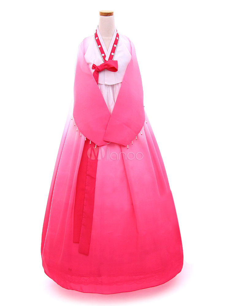 Buy Halloween Korean Costume Chiffon Girls' Long Sleeve A Line Maxi Court Dress Traditional Hanbok Costume Set for $80.99 in Milanoo store