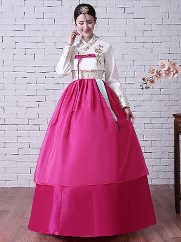 Buy Halloween Korean Costume Satin Surplice Floral Embroidered Layered Tradictional Hanbok Costume Set for $79.99 in Milanoo store