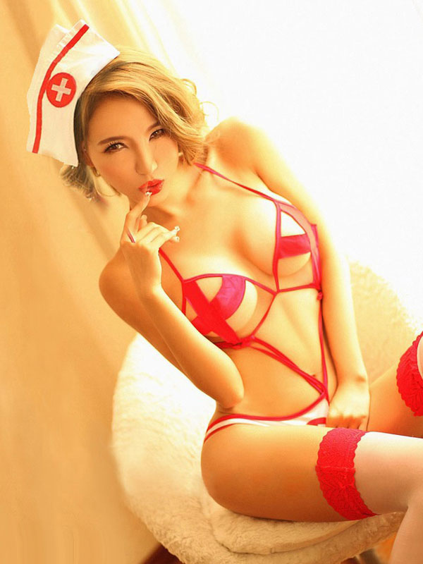 Halloween Sexy Nurse Costume Red Women's Halter Seductive Costume Outfit Halloween