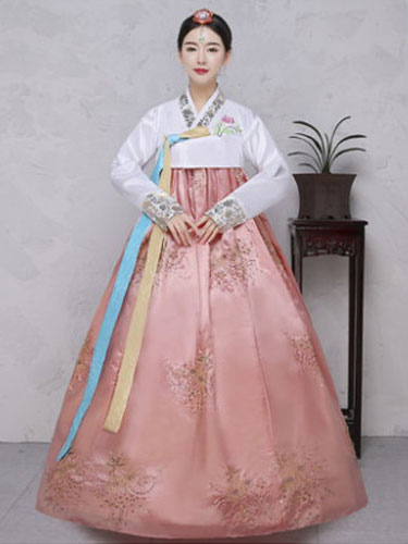 Buy Halloween Korean Costume Satin Women's Floral Printed Maxi A Line Dress Hanbok Costume Set for $44.99 in Milanoo store