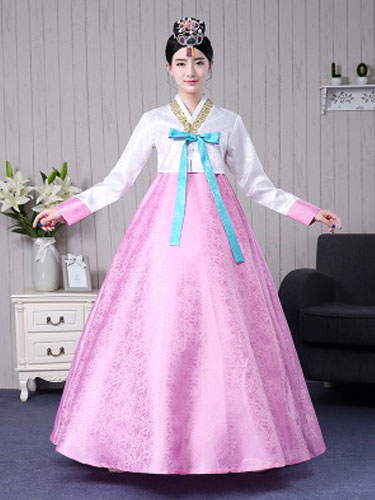 Buy Halloween Korean Costume Women's Color Block Maxi A Line Traditional Court Dress Hanbok Costume Set for $37.99 in Milanoo store