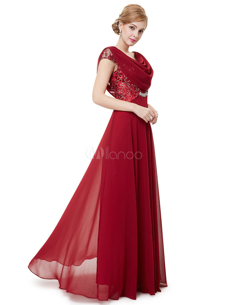 Chiffon Mother Of The Bride Dress Red Sequin Beading Formal Evening Dress Double Cowl Collar Floor Length Wedding Guest Dresses