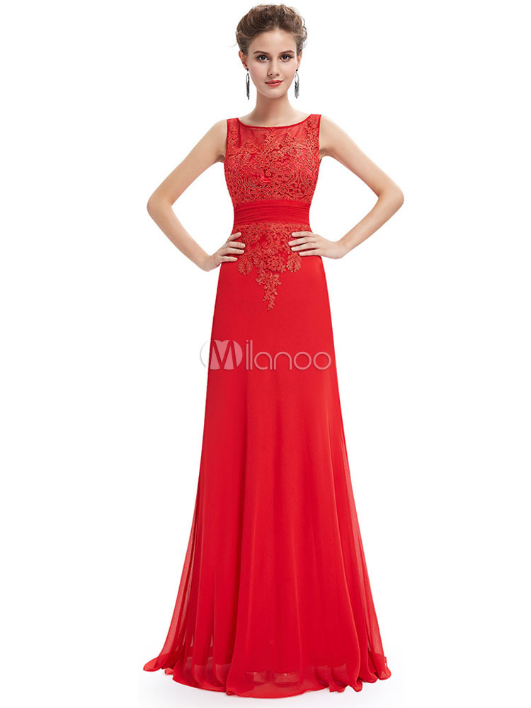 Buy Formal Evening Dress Red Lace Applique Chiffon Mother Of The Bride Dress Kehole Sleeveless Floor Length Wedding Guest Dresses for $145.19 in Milanoo store