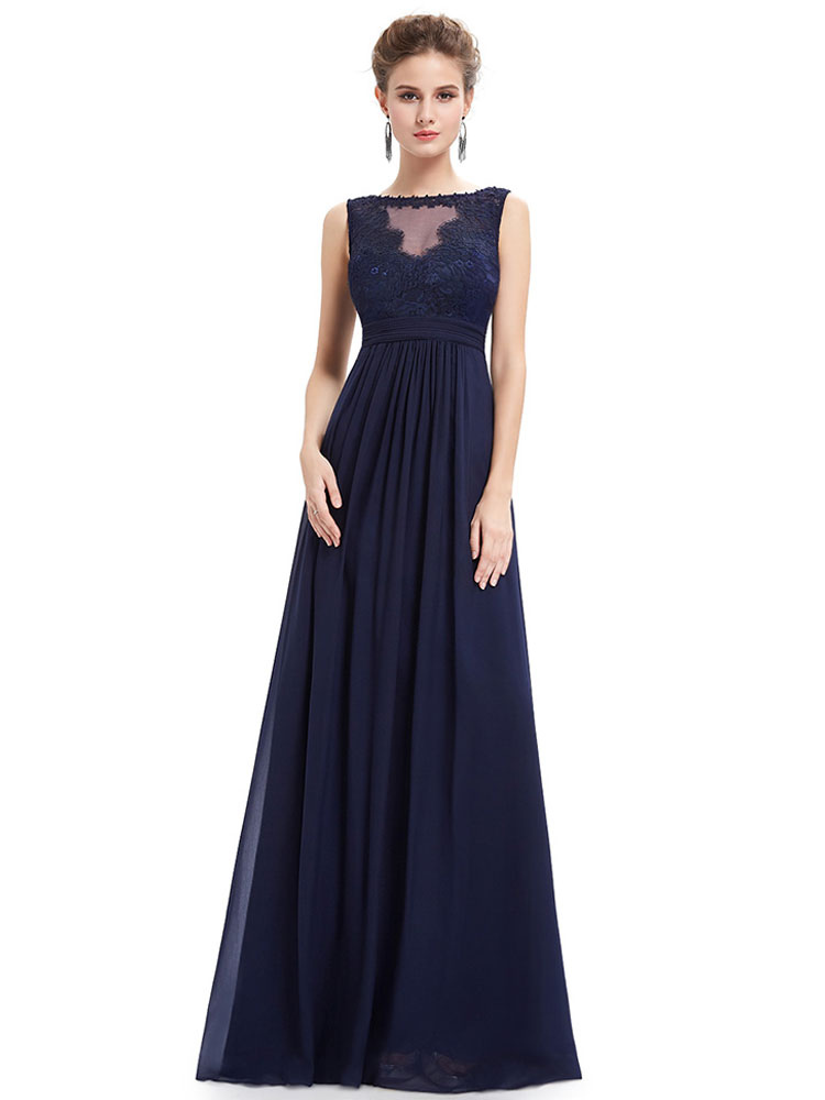Buy Formal Evening Dress Chiffon Dark Navy Illusion Mother Of The Bride Dress Sleeveless Floor Length Wedding Guest Dresses for $140.79 in Milanoo store