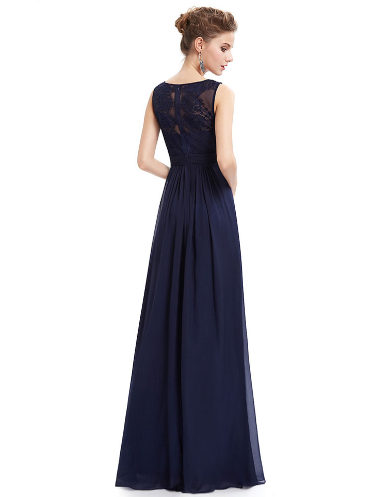 63fca41063f ... Formal Evening Dress Chiffon Dark Navy Illusion Mother Of The Bride  Dress Sleeveless Floor Length Wedding ...