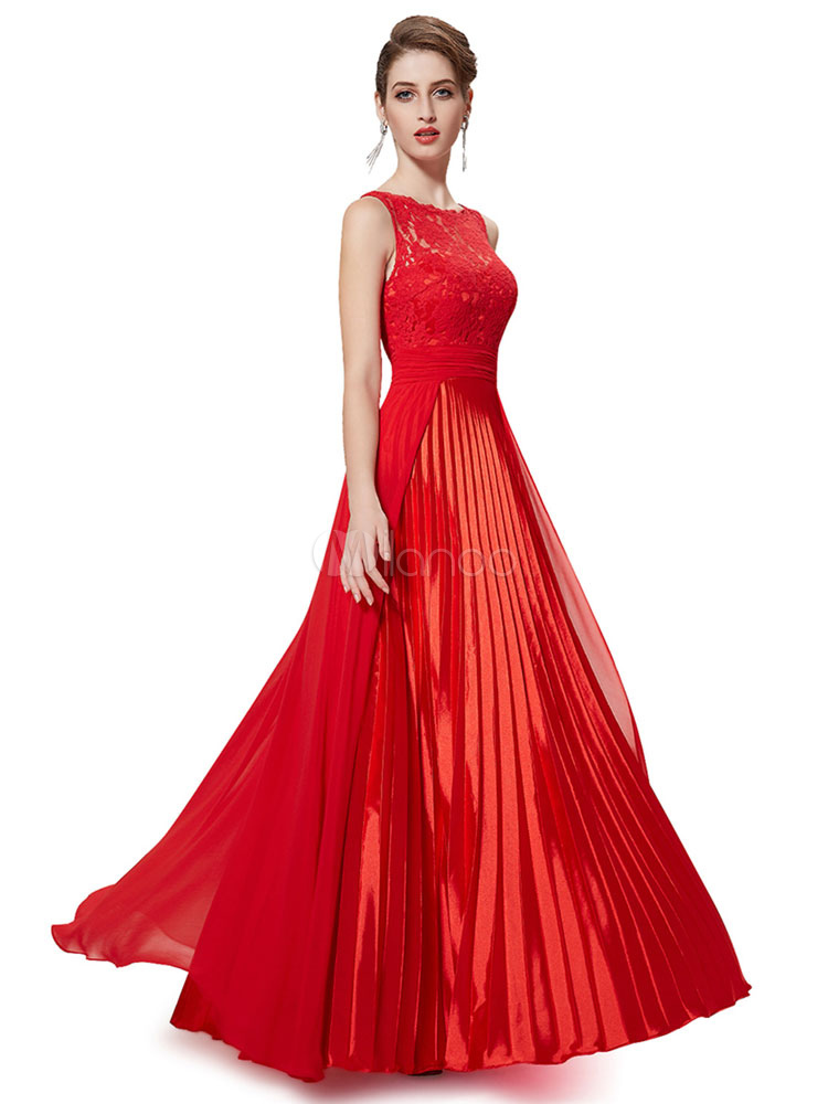 Buy Red Formal Evening Dress Pleated Sleeveless Wedding Guest Dresses Satin Chiffon Floor Length Mother Of The Bride Dress for $149.59 in Milanoo store