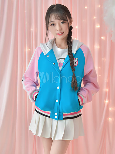 Overwatch D.va Kawaii White Pana Varsity Jacket Halloween