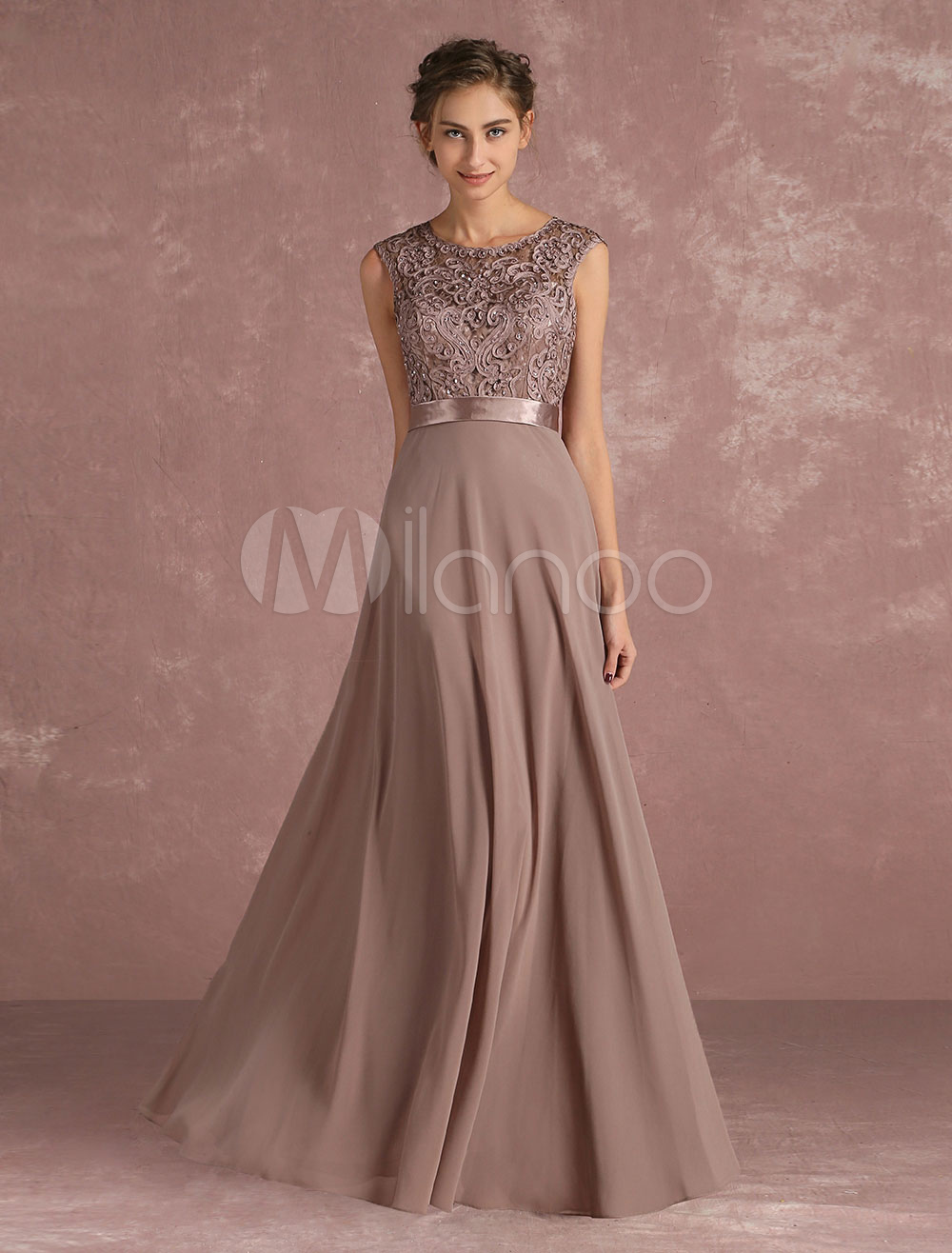 Buy Chiffon Mother's Dress Lace Beading Formal Evening Dress Sleeveless Taupe Sash Floor Length Wedding Guest Dresses for $161.49 in Milanoo store