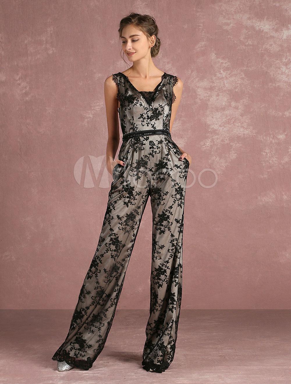 combinaison noire dentelle v cou sans manches dos nu jambe droite formelle jumpsuit habill s en. Black Bedroom Furniture Sets. Home Design Ideas
