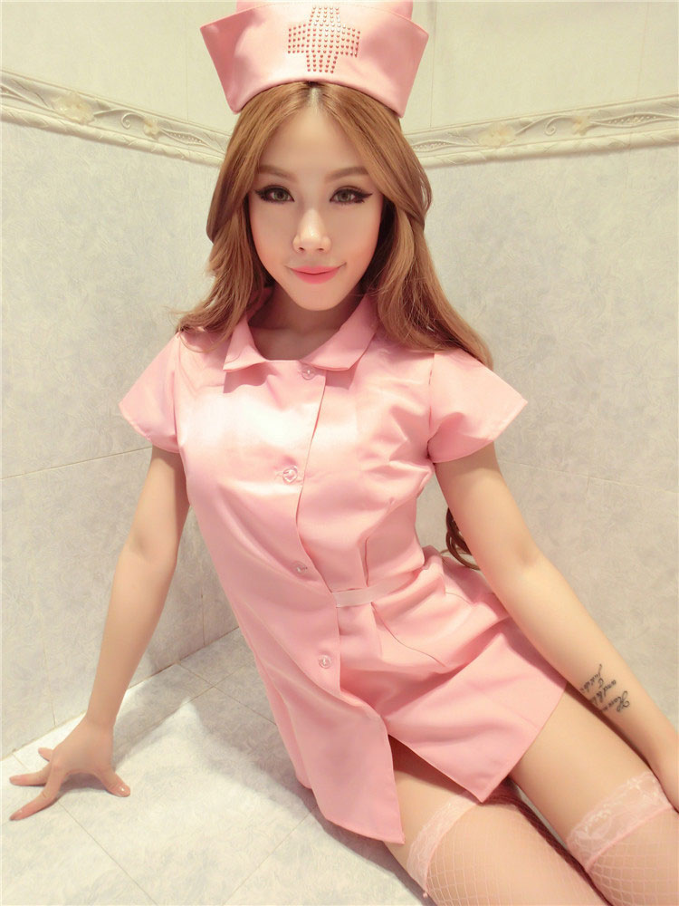 f586038c8 ... Costume de Roupas de enfermeira enfermeira de poliéster conjunto  poli mistura de algodão rosa clara ...