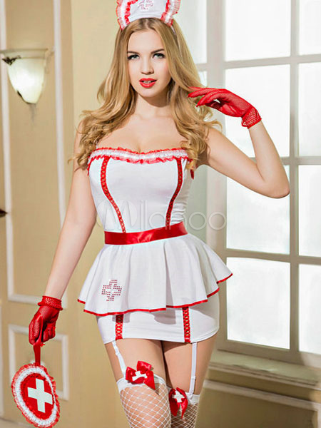 Buy Sexy Nurse Costume Halloween Women's Peplum Dress Outfit Halloween for $38.99 in Milanoo store