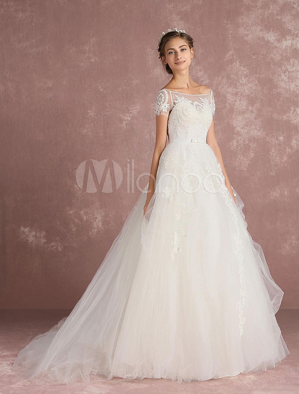 6ea7024a53c Tulle Wedding Dress Ivory Bridal Dress Lace Applique Beading Back ...