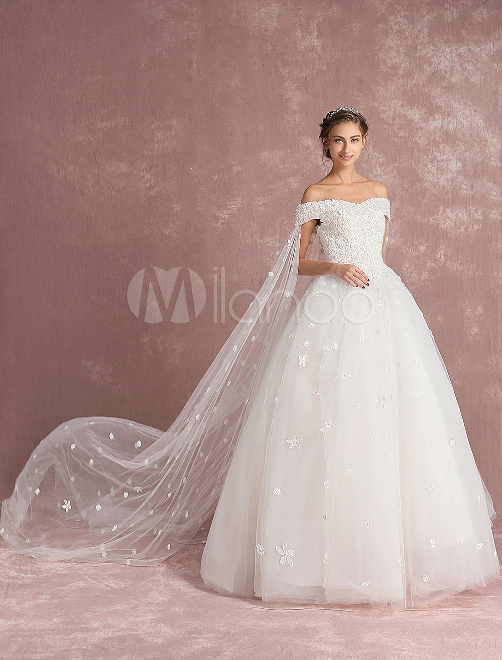 Buy Ball Gown Wedding Dress Off The Shoulder Bridal Dress Watteau Train White Tulle Lace Flower Applique Floor Length Bridal Gown for $197.99 in Milanoo store