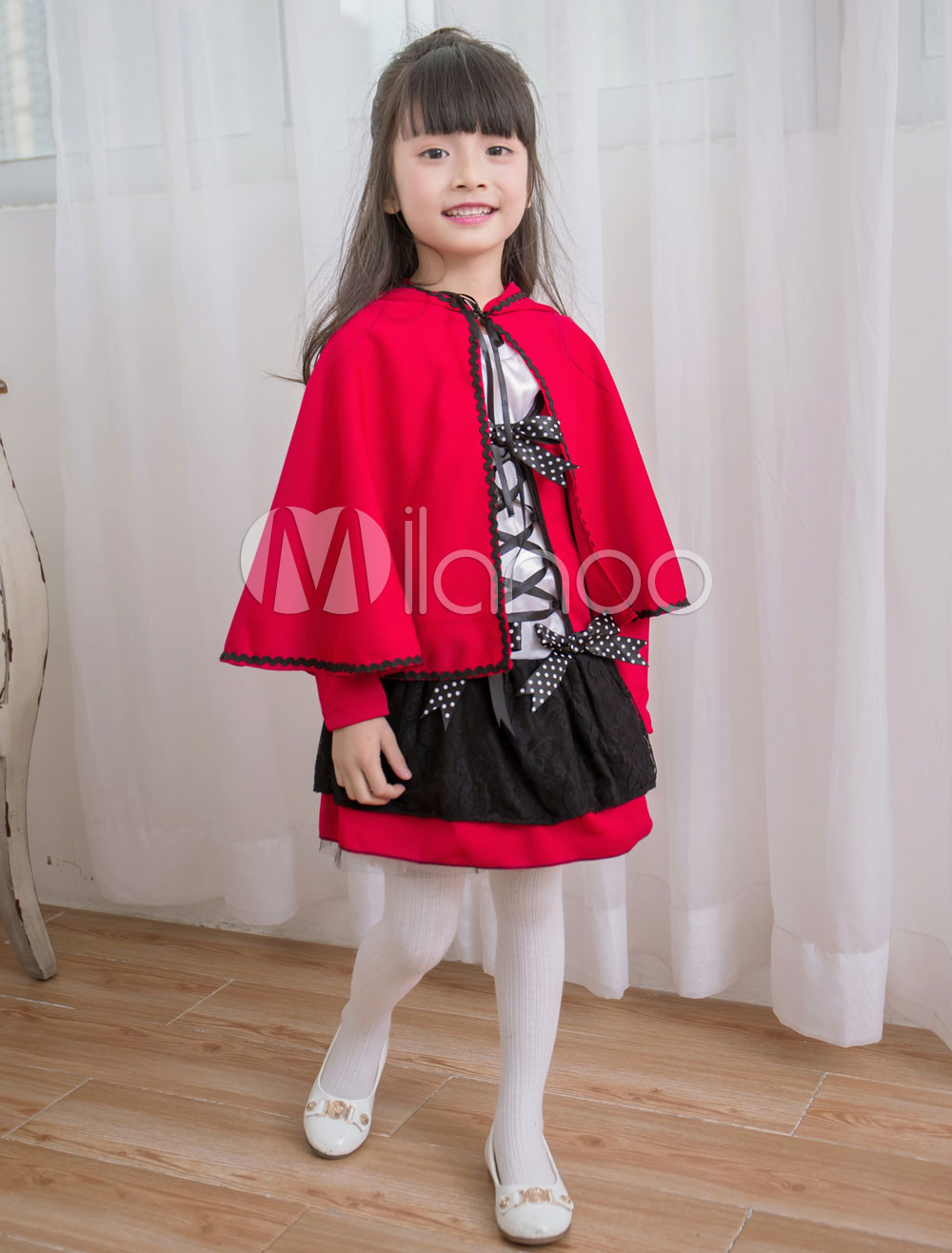 Red Riding Hood Costume Kids' Cartoon Cosplay Dress With Cloak For Girl Halloween