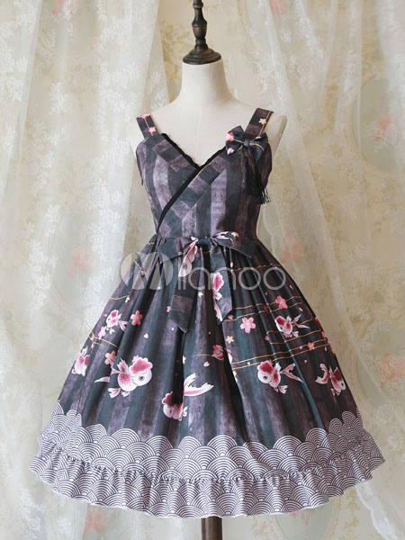Buy Sweet Lolita Dress JSK Black V Neck Sleeveless Printed Cotton Lolita Jumper Skirt for $61.99 in Milanoo store