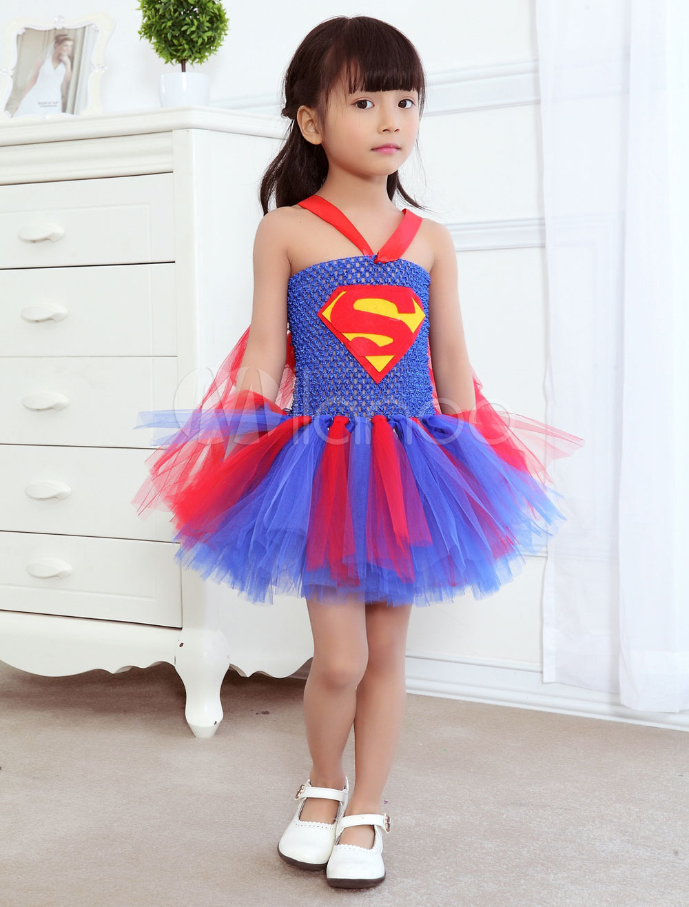 Kids' Superman Costume Comic Movie Cosplay Colorful Tutu Dress For Girl Halloween