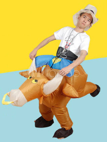 Buy Carry Me Costume Halloween Ride On Carnival Bull Carrier Light Brown Mardi Gras Inflatable Suit Halloween for $37.99 in Milanoo store