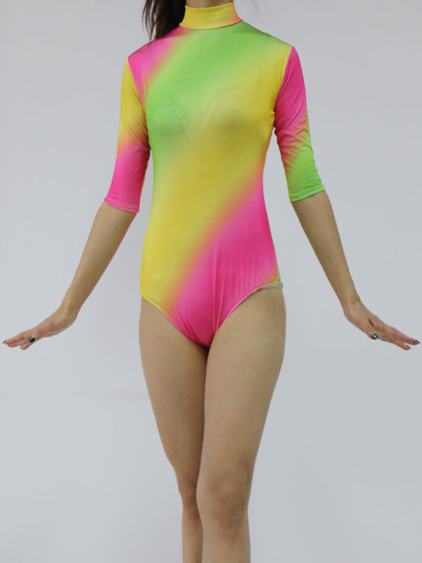 Buy Spandex Zentai Suit Multi Color Half Sleeve Lycra Leotard For Women Halloween for $20.99 in Milanoo store