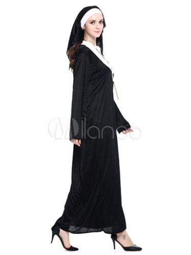 Disfraz Halloween De Monja Negro De Poliéster Vestido Largocon Adorno Para La Cabeza Halloween