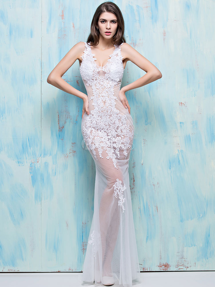 Sexy Bridal Costume Lace Semi Sheer White Mermaid Wedding Costume Outfit Halloween