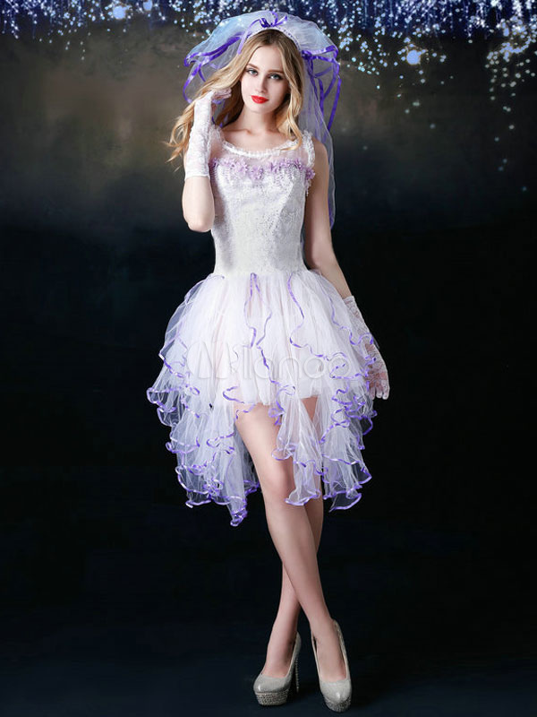 efa66a89c0643b Sexy Bride Costume Halloween Women's White Tulle Wedding Dress With Veil  Halloween