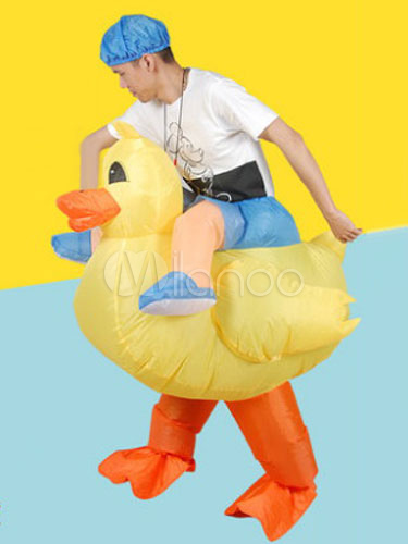 Buy Piggy Back Ride Costume Carnival Rubber Ducky Carrier Yellow Mardi Gras Inflatable Suit Halloween for $37.99 in Milanoo store