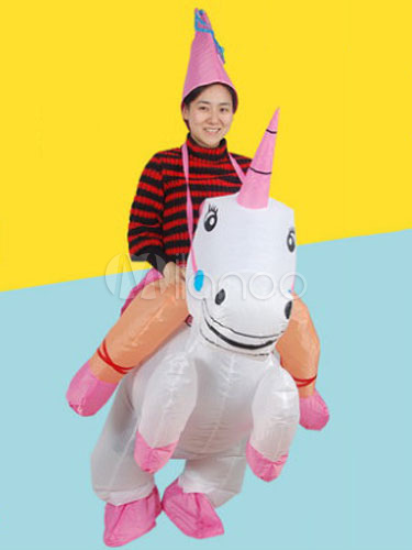 Buy Carry Me Ride On Costume Carnival Unicorn Carrier White Mardi Gras Inflatable Suit Halloween for $37.99 in Milanoo store