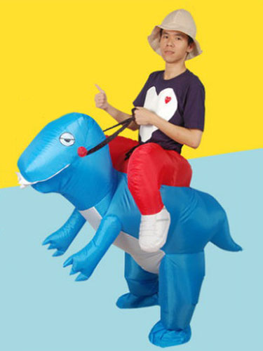 Buy Piggy Back Ride Costume Carnival Unisex Dinosaur Carrier Blue Mardi Gras Inflatable Suit Halloween for $33.99 in Milanoo store