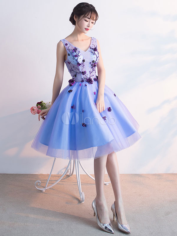 Buy Blue Prom Dress Lace 3D Flower Embroidered Cocktail Dress Tulle V Neck Sleeveless Knee Length A Line Party Dress for $90.99 in Milanoo store