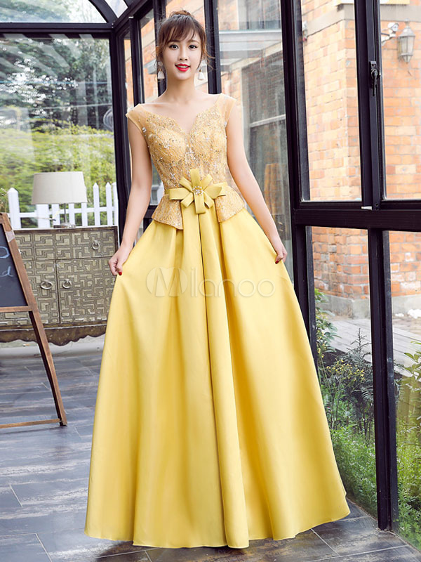 Satin Prom Dress Yellow Beading Bow Sash Evening Dress Notched Neckline Sleeveless A Line Floor Length Party Dress