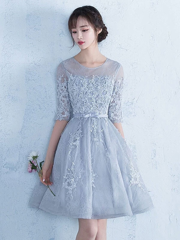 Light Grey Prom Dress Illusion Lace Applique Homecoming Dress Jewel Half Sleeve Bow Sash A Line Short Cocktail Dress