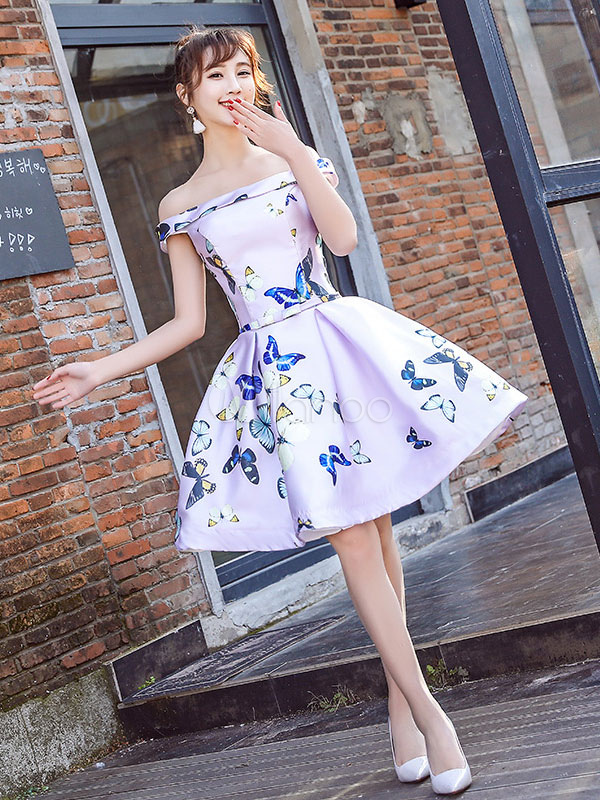 Satin Prom Dress Off The Shoulder Short Cocktail Dress Soft Pink Butterflies Printed Bow Sash A Line Homecoming Dress