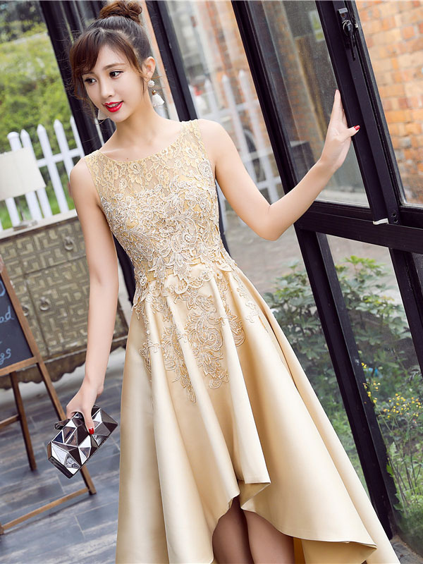 3f65ab8773b ... Satin Prom Dress Lace Applique High Low Evening Dress Light Gold Jewel  Sleeveless Pleated Party Dress ...
