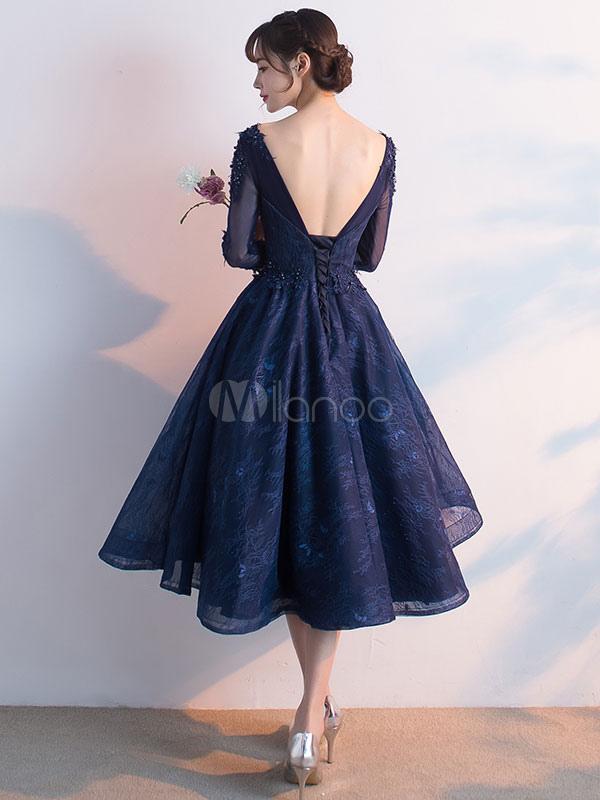 653b2feed927 ... Dark Navy Prom Dress Lace Applique Beading Cocktail Dress Jewel 3/4  Length Sleeve A ...