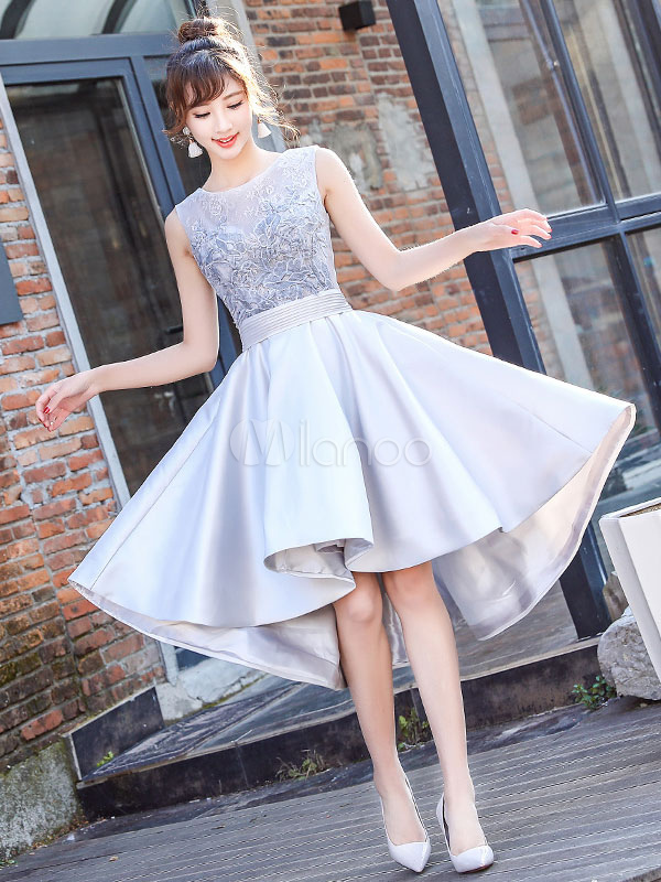 Satin Prom Dress Lace Applique High Low Cocktail Dress Jewel Sleeveless Pleated A Line Homecoming Dress
