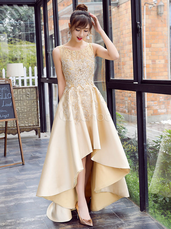 a0aaf1458e6 Satin Prom Dress Lace Applique High Low Evening Dress Light Gold Jewel Sleeveless  Pleated Party Dress ...