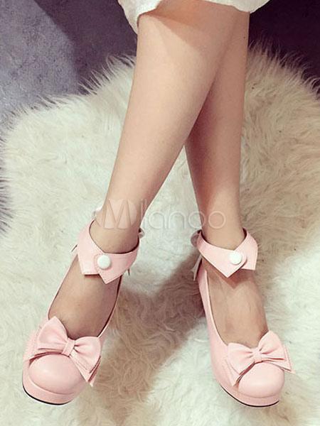 Sweet Lolita Shoes Soft Pink Chunky Heel Platform Ankle Strap Bows Lolita Footwear