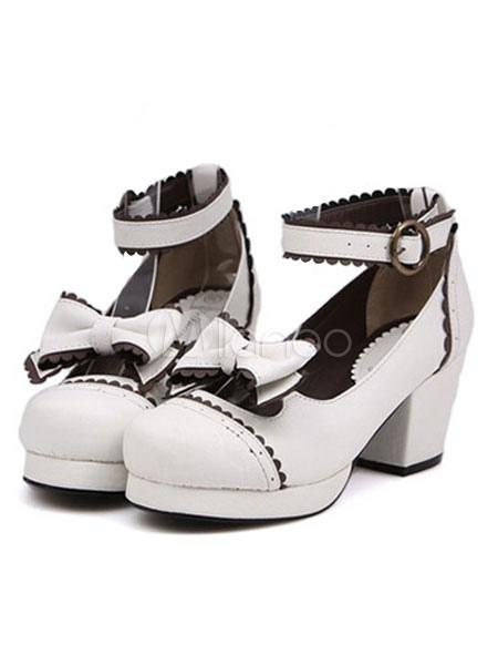 Sweet Lolita Shoes White Chunky Heel Platform Ankle Strap Bows Lolita Footwear